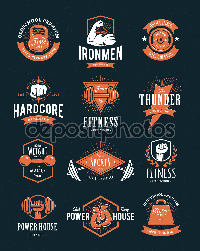 Hardcore retro styled two-colour gym logos.