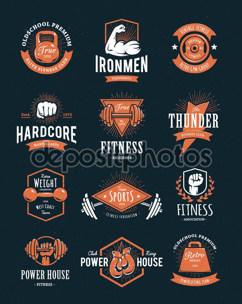 Hardcore retro styled two-colour fitness logos.