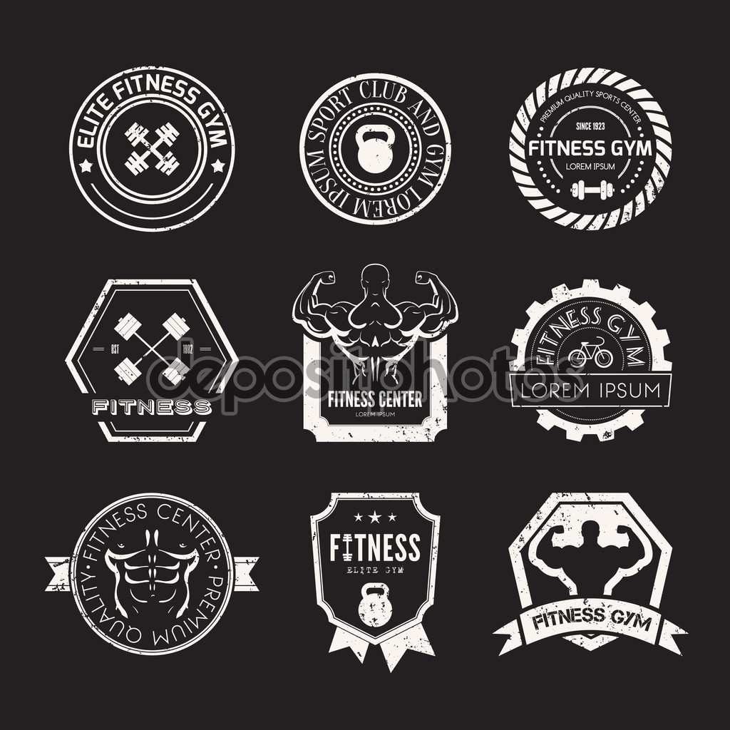Retro stamp-style fitness logos in one colour.