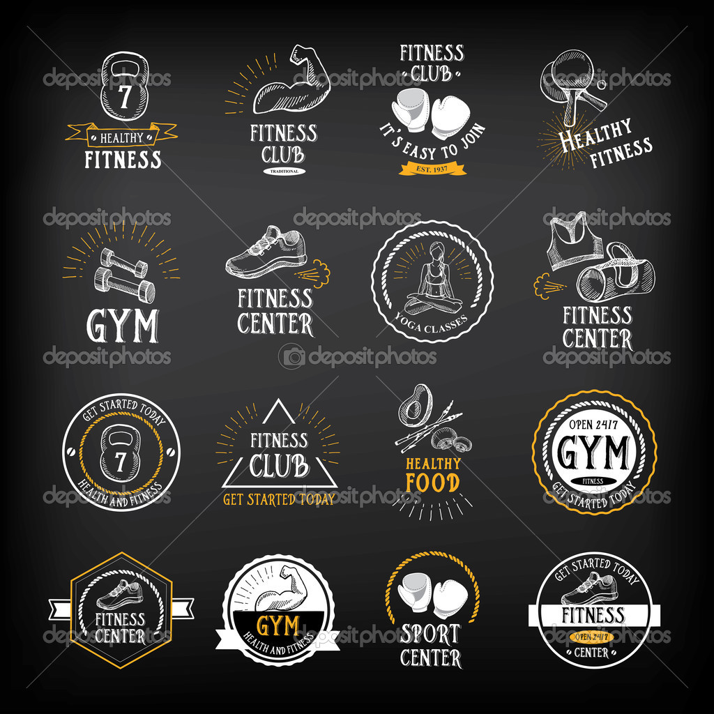 Chalk-style fitness logo designs.