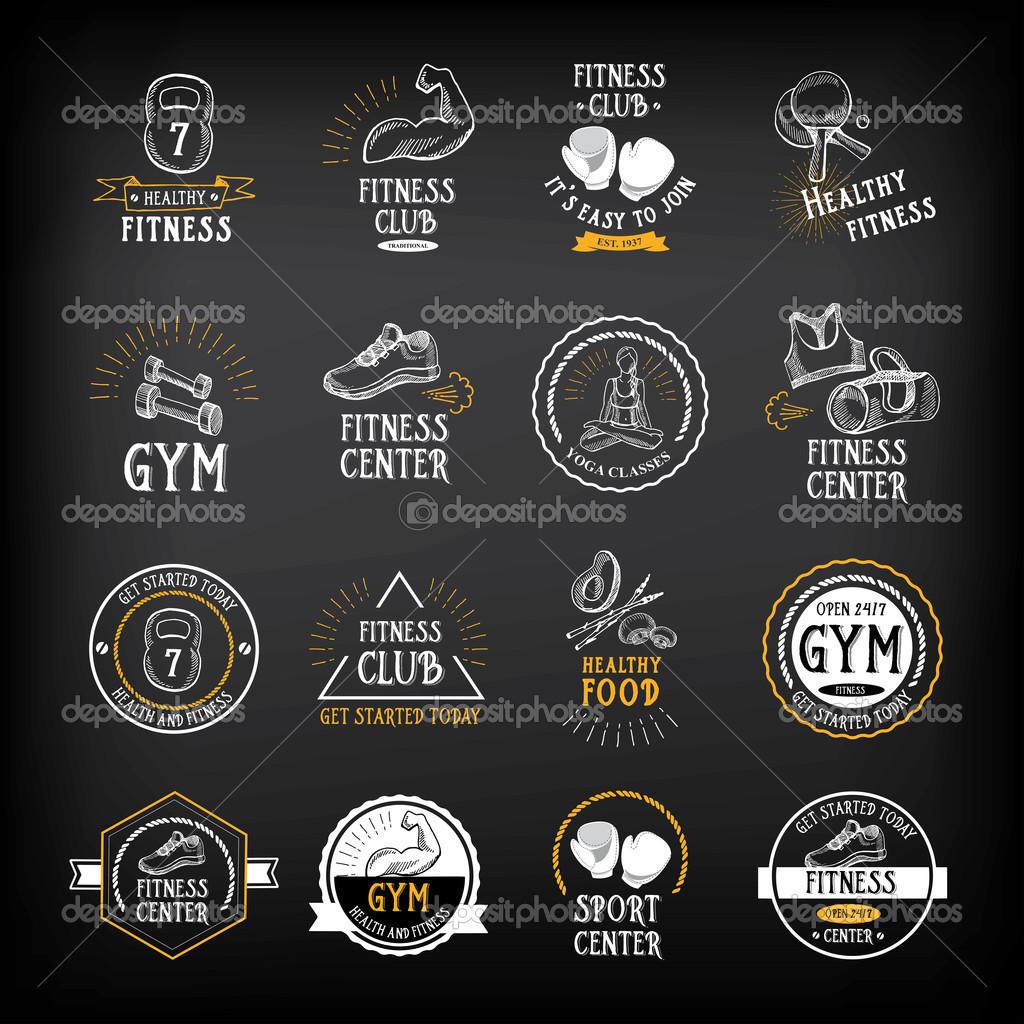 Chalk-style fitness logo designs.