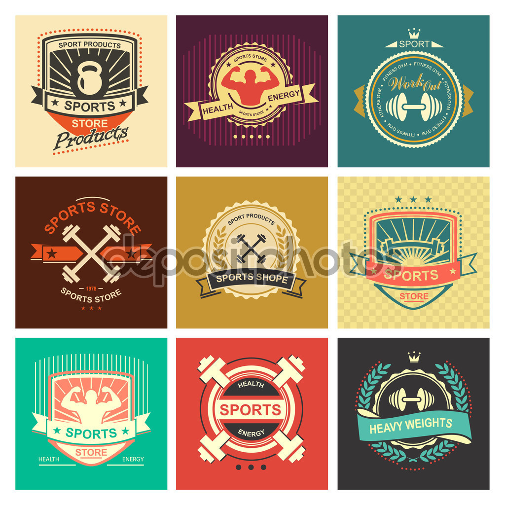 Vintage colour fitness logos.