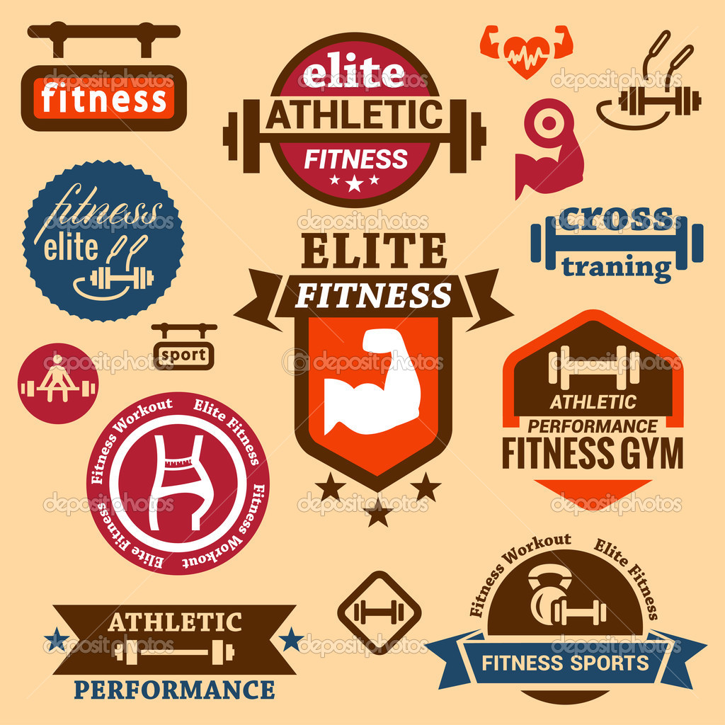 Fitness logos labels