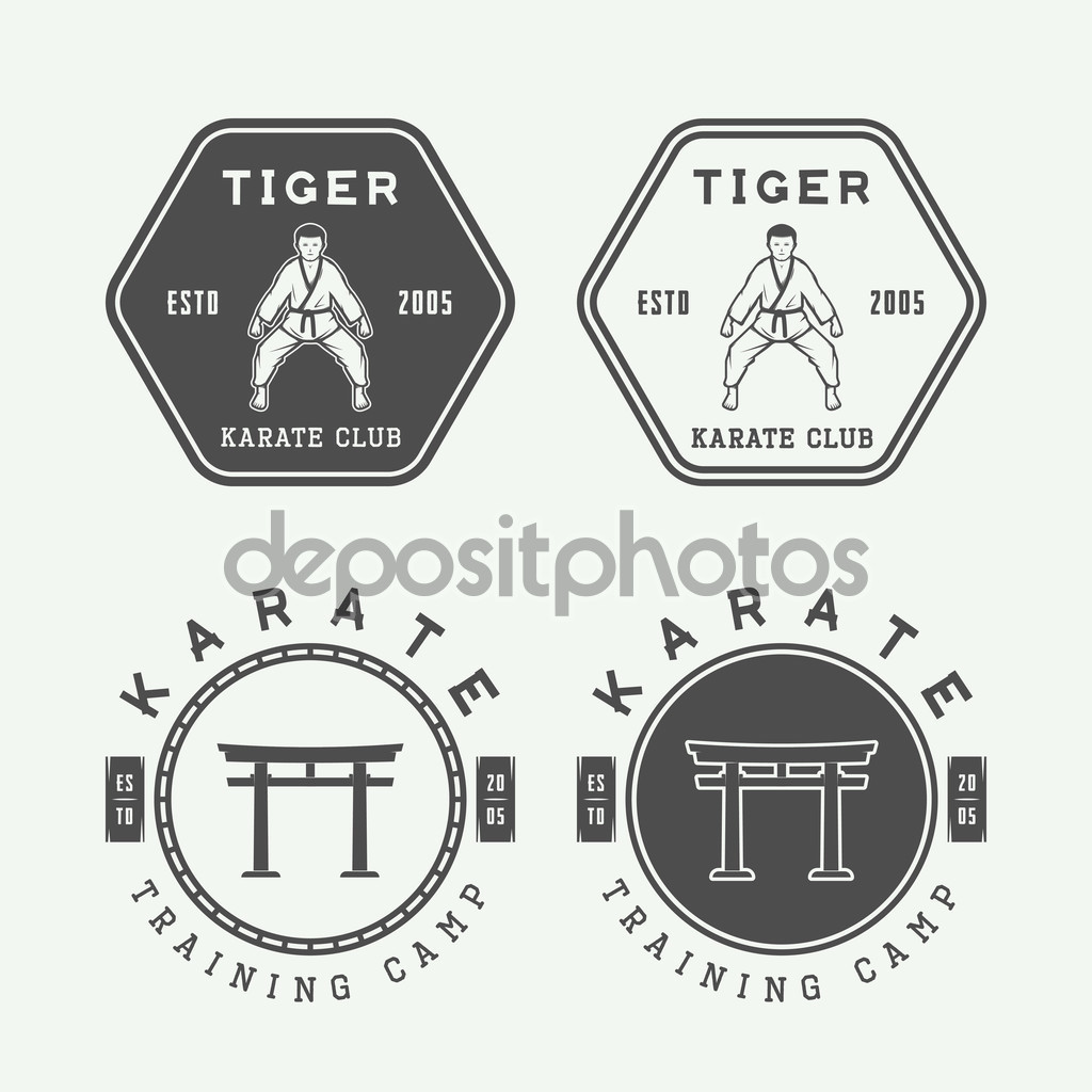 Set of vintage karate or martial arts logo, emblem, badge, label and design elements. Vector illustration