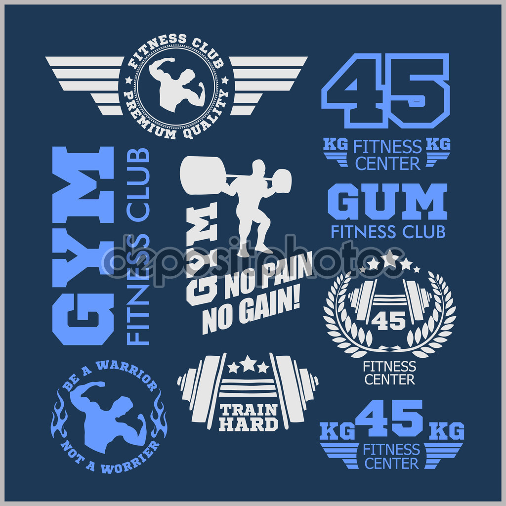Set of two color sports and gym logo templates