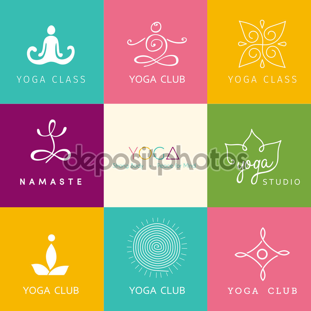 Vector illustration of Set of logos for a yoga studio