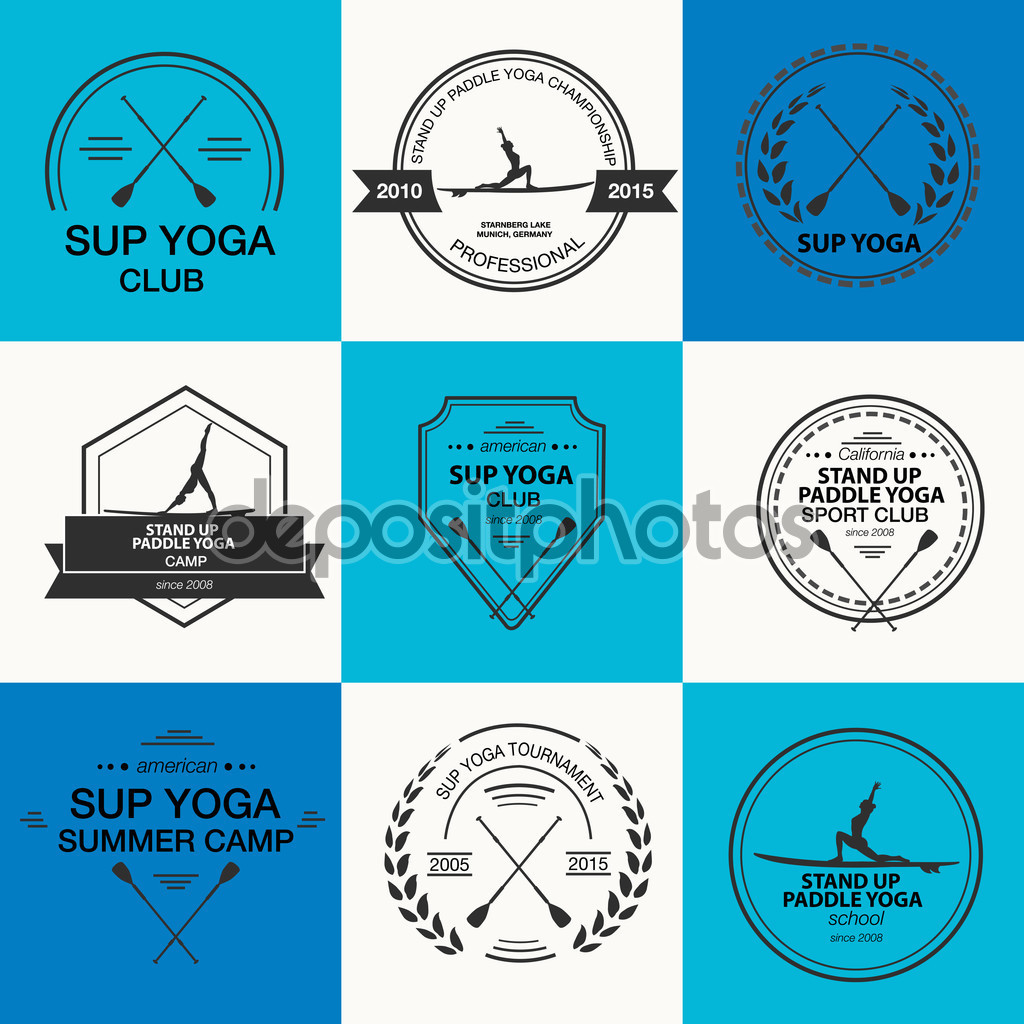 Set of different logotype templates for stand up paddle yoga. Vector athletic labels and badges. Vector flat design style illustration of icons. Template for postcard, personal card or print.