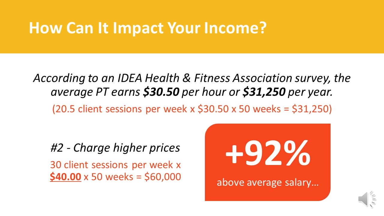 Personal Trainer Income - Pricing Slide