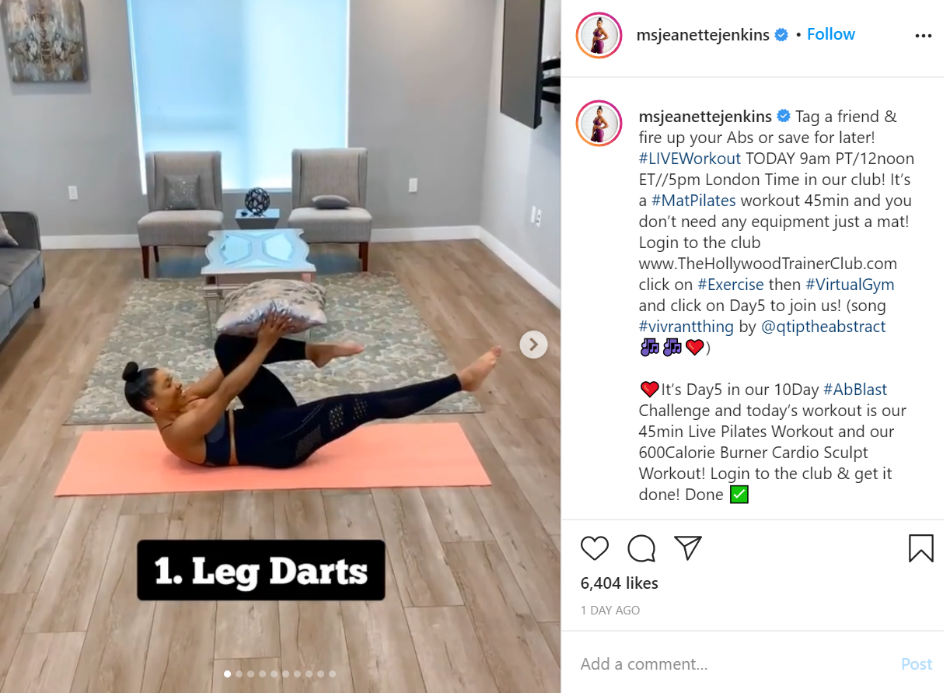 Instagram Workout Post Example
