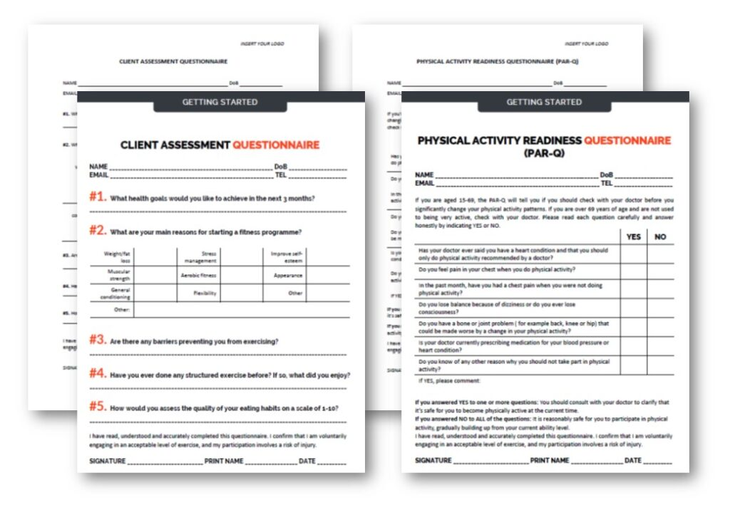 Editable PARQ Form Templates