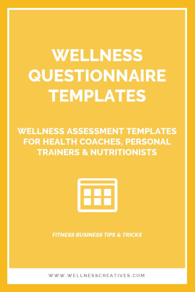 Wellness Assessment Questionnaire PDF Templates